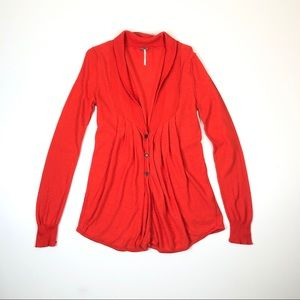 Free People Orange Knit Cardigan Front Button S